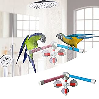 Parrot Bath Stand Perch Bird Shower Standing Bar for Parrot Macaw African Greys Budgies Cockatoo Parakeet Bird Bath… 22