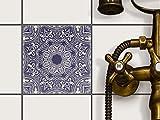 Fliesenfolie selbstklebend 15x15 cm 1x1 Design Blue Mandala (Grafik & Illustration) Klebefolie Küche Bad
