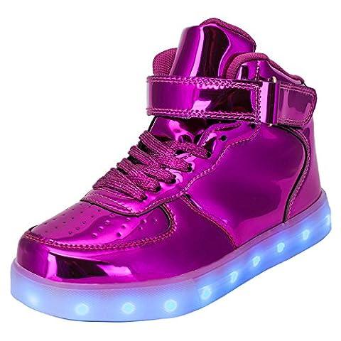 TULUO Kind u. Männer u. Frau USB-aufladende LED 7 Farben-helle hohe SpitzenSneakers Helle Schuhe lila 38 EU