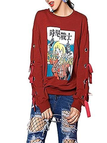 Damen Sweatshirt Langarm Elegant Drucken Baumwolle Causal Pullover sport Sweater Rundhalsausschnitt shirt Ufly