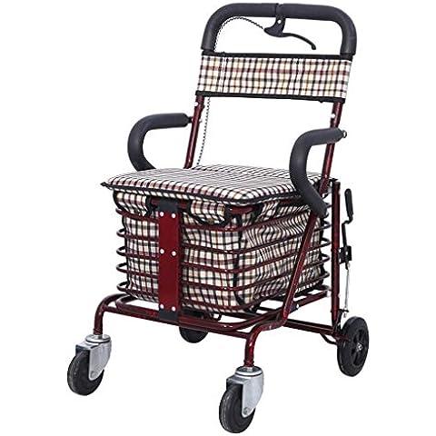 Compras carrito de hierro mayores plegable compras ocio puede mano-ser empujado a Ride SIDA acolchado asiento y cesta de compras gratuito bolsa de almacenamiento y Bolsa sillín , jxa003 wine red