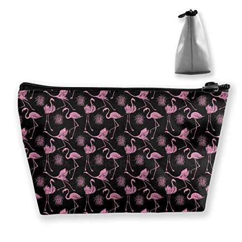 Women Fly Flamingo Feather Storage Bag Organizer Multipurpose Cosmetic Train Case Premium Zipper Handbag Large Capacity for Cosmetics Jewelry Travel Bebe Satin