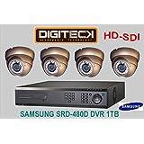 APPROVISIONNEMENT & FIT FULL HD SYSTÈME DE CAMÉRA DE VIDÉOSURVEILLANCE 4 X HD IR DOME RÉSISTE 1080P -SDI AU VANDALISME COQUE SAMSUNG SRD - 480D HD DVR 4 CANAUX ET DISQUE DUR 1 TO