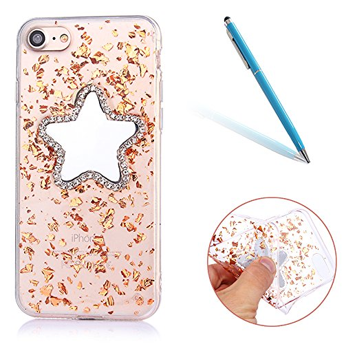 Custodia iPhone 6sPlus, CLTPY iPhone 6Plus Morbido TPU Cover Brillantini Sparkle Diamante Star Makeup Mirror Design Semi-trasparente Protettivo Case per Apple iPhone 6Plus/6sPlus + 1 x Stilo - Rosa Ro Oro di Champagne