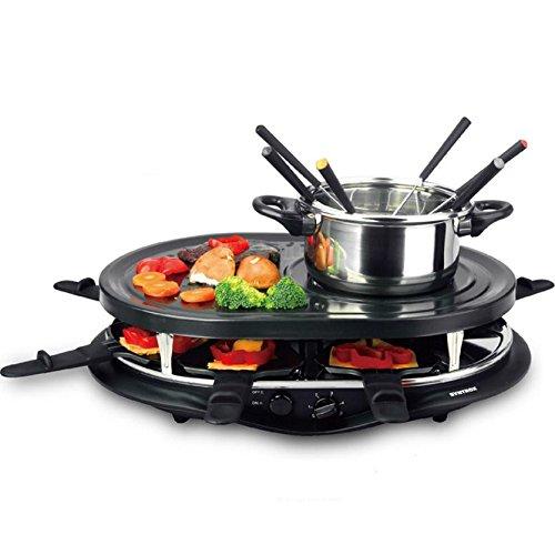 Syntrox Germany 4 in 1 Raclette-Grill-Fondue-Heißer Stein für 8 Personen