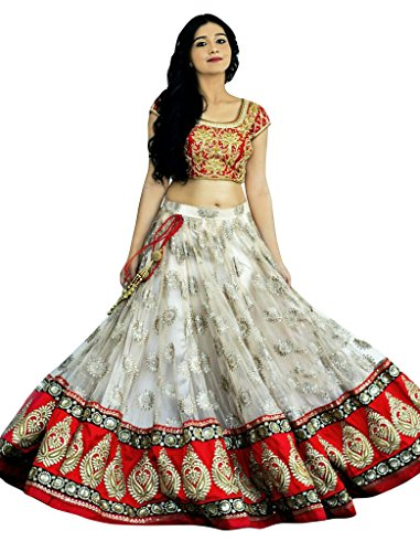 Sancom Red & Off White Colored Net With Heavy Embroidery & Patch Work Semi-Stitched Designer/Partywear/Fusionwear/Exclusive/Traditional Lehenga Choli  available at amazon for Rs.2690