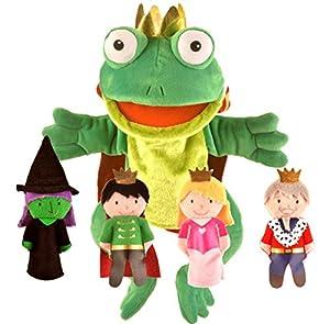 FIESTA Kit de Marionetas, marioneta de Mano de Rana y Marionetas de Dedo de príncipes y Princesas