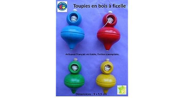 Toupie en bois /à lancer en couleur Made in Le Jura.