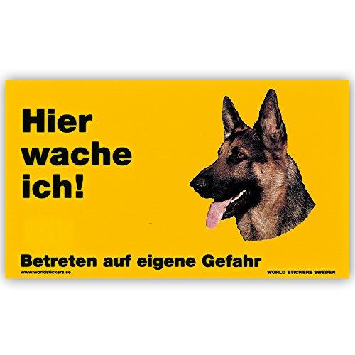 Schecker Warnschild Hier wache ich! Dt.Schäferhund Kopf Türschild Hundewarnschild
