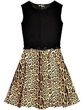 Nuevo vestido del patinador de la impresión del leopardo de las muchachas con la correa Edad Tamaño 5 6 7 8 9...