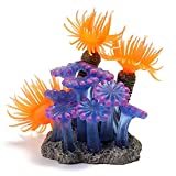 Beetest-Resin Soft Artificial Coral Fish Tank Aquarium Landscape Ornament Decoration with a Base