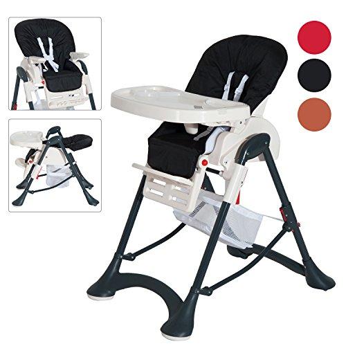 Homcom Kinderstuhl, faltbarer Futternapf-Tisch, mit Sicherheitsgürtel in Schwarz