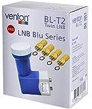 Venton Twin LNB Digital 0.1dB für 2 Fach Teilnehmer Direkt Anschluss Full Ultra HD TV 3D 4K + Wetterschutz (ausziehbar) im Set mit 4 F-Stecker Kontakte vergoldet Weiß