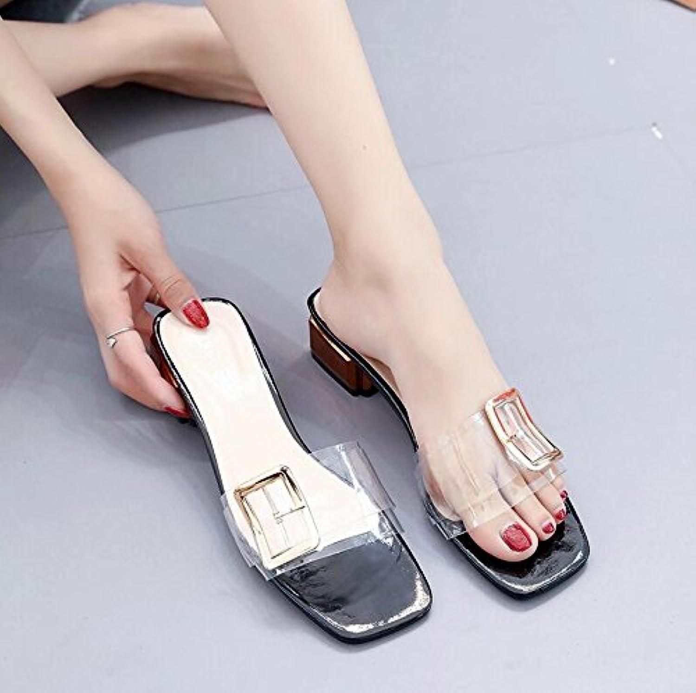 LGK&FA Zapatillas Transparentes Llevar Zapatos De Mujer Con Un Par De Zapatos De Mujer. 38 Negro