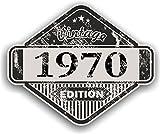 Distressed envejecido Vintage 1970Edition Classic Retro vinilo coche moto Cafe Racer Casco Adhesivo Insignia 85x 70mm