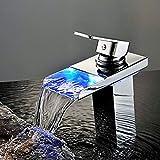 Led Waschbecken Wasserhahn, Bad Wasserfall Wasserhahn Warme Und Kalte Einloch-armatur