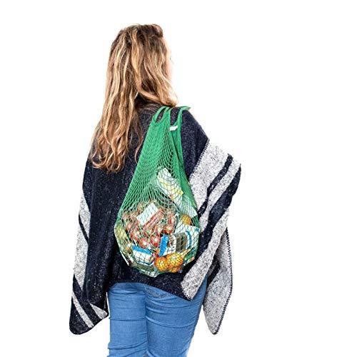 Lantelme 2 Stück Baumwolle Einkaufsnetz XL Farbe grün Set Umweltschonend Netztasche Obst Gemüse Beutel 5988