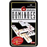 Jonquin Double Six Color Dot Dominoes Set With Metal Tin Case, Set Of 28