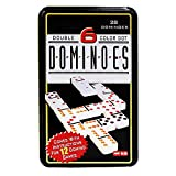 Jonquin Double Six Color Dot Dominoes Set With Metal Tin Case, Set of