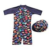 bañador Manga Larga Protección Solar UV para niño bebé, Trajes de baño Gorra de baño Natacion bañador niñas niños Mono bañador niño Bebes Armada 3-4 años