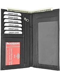 Rfid Blocking Premium Soft Leather Sim Checkbook Organizer Id Credit Card Holder Wallet (Black) By Marshal