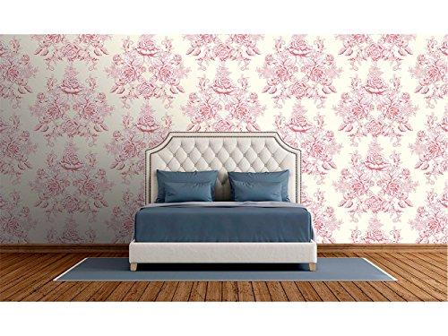 Papel Pintado Pared Estampado Damasco Rojo Fondo Beige | Fotomural para paredes | Mural | Papel Pintado | Varias Medidas 200 x 150 cm | Decoración comedores, salones, habitaciones...