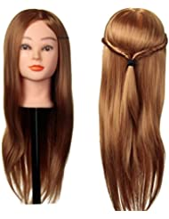 LuckyFine Mannequin Tête d'exercice 30% Cheveux Naturels Tête à Coiffer Coiffure + Support