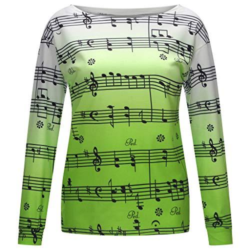 SANNYSIS Damen Musiksymbol Gedruckt Langarmshirt Sweatshirt Pulli Hoodie Strickpullover Bluse Jumper Hemd Oberteile Frauen Tops Beiläufige Lose Top T-Shirt Tees (4XL, Grün)
