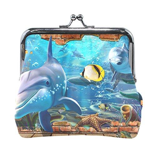 Coosun Dolphin Sea Animals Leder Geldbörse Snap Schließung Kupplung Münze Brieftasche (Leder Geldbörse Animal)