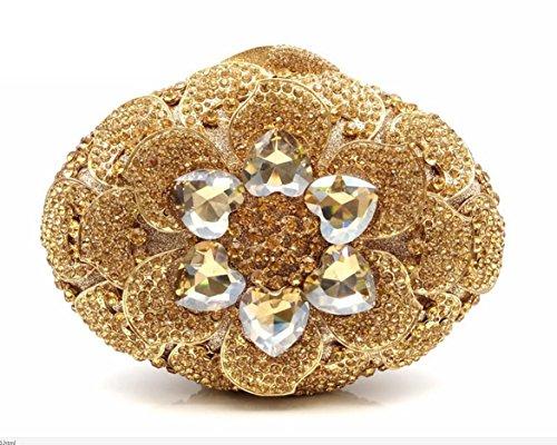 XYXM lady clutch Deluxe pacchetto Dinner pack del fiore di strass Borsa di Cristallo handmade portafoglio , Pink Gold