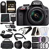 Nikon D3300 DSLR Camera with 18-55mm Lens (Black) + Sony 128GB UHS-I SDXC