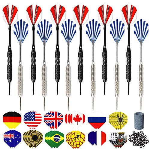 Hook Dart Pfeile Set,12 Stück Dartpfeile Steel, 24 Gramm Profi Steeldarts mit Metallspitze, Darts Steel, Dartpfeile Metallspitze, Dart Set, Tungsten Darts, 48 Dart Flights, 50 Anti-Lose Gummiringe