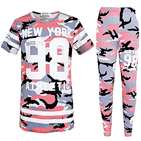 Kids Camouflage Print Top/ T Shirt & Legging Set Kids NEW YORK BROOKLYN 98 ATHLETIC Sleepwear (Baby Pink, 11-12