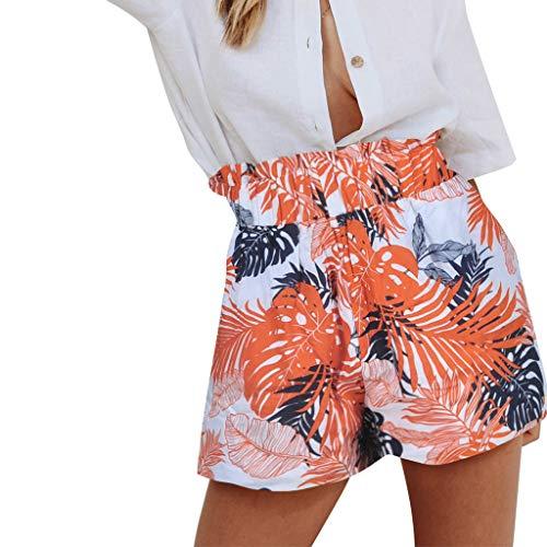 Old Kostüm Golf School - WOZOW Damen Hosen Shorts Kurze Hosen Boho Hawaii Blätter Tropische Baum Print Muster Rüschen Falten Gefaltet High Waist Loose Bequem Mini Trouser (XL,Orange)