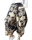 Mujer Estampados Pantalones con Cintura Elástica Aladin Pata Ancha Pantalon Capri Albaricoque M