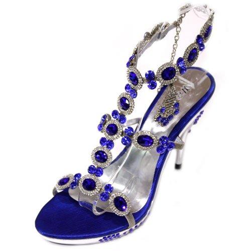 B W & Evening Damen Sandalen Prom Party Heels Schuhe-Gr. (Gold, Silber, Perlmutt, Blau Blau
