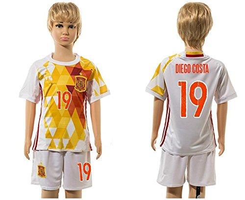 Top Venta de España 19Conjuntos de Diego Costa Away para niños Kid jóvenes de fútbol jersey en color blanco, Infantil, blanco, medium