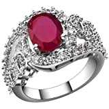 Silver Plated Ruby Crystal Ring For Women size 17