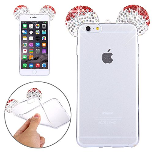 Phone case & Hülle Für iPhone 6 Plus / 6s Plus, Maus Ohr Diamond Pattern Transparent TPU Schutzhülle mit Lanyard ( Color : Magenta ) Red
