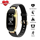 Smart montres, TechCode Bluetooth Étanche S3 Smart Watch Mode Femmes Dames Moniteur de Fréquence Cardiaque Fitness Tracker Smart montre pour Android IOS iPhone 6/7/8 Plus, iPhone X, Samsung S8 / S9 Plus etc. (Or Noir)