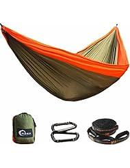 Herenear Hamac de Camping Double - Portable ultra-léger Nylon à Parachute Hamac avec 2 x Mousquetons et 2 x sangles de nylon pour Camping Voyage Maison Jardin Plage, 300x200cm