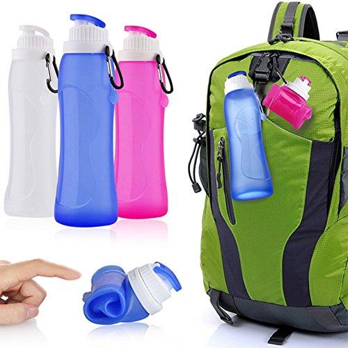 Faltbare Trinkflasche Sport Genie Wabbelige Silikon Flasche Wasserflasche BPA Frei & FDA genehmigt 500ml 3 Farben