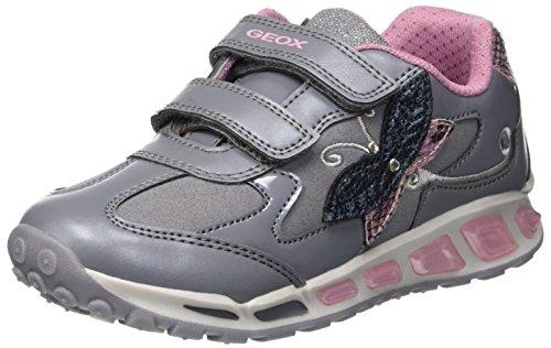 Geox Mädchen J Shuttle Girl A Sneaker, Grau (Grey/Pink C0502), 33 EU
