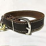 guoxuEE Hundehalsband aus strapazierfähigem Rindsleder für mittelgroße Hunde