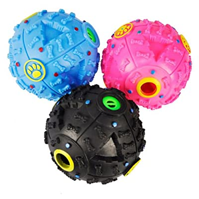 PACK OF 2 Tech Traders Large giggle ball PET dog tough treat training chew sound activity toy squeaky-BLACK & BLUE