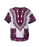 Lofbaz - Unisex Dashiki - Traditionelles Oberteil mit afrikanischem Druck - Size L Weiß und Dunkelrosa