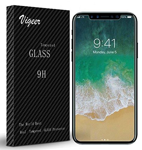Protector de pantalla iPhone X, Vigeer [2 Paquete] [0.3mm, 2.5D] [Libre de burbujas] [Dureza 9H] [Fácil instalación] [HD Clear] Protector de pantalla de vidrio templado para iPhone X