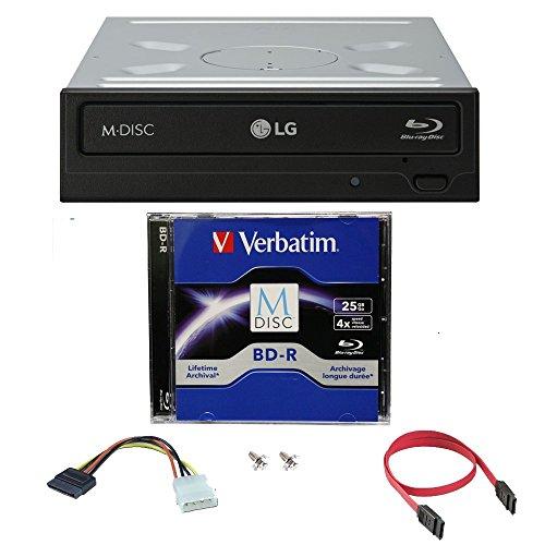 LG 16x Blu-ray M-Disc CD DVD BD BDXL Bluray-Brenner Laufwerk mit freiem 1pk Mdisc BD + Kabel und Befestigungsschrauben WH16NS40