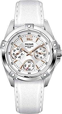 Pulsar Sport PP6157X1- Reloj de cuarzo para mujer, correa de cuero color blanco de Seiko