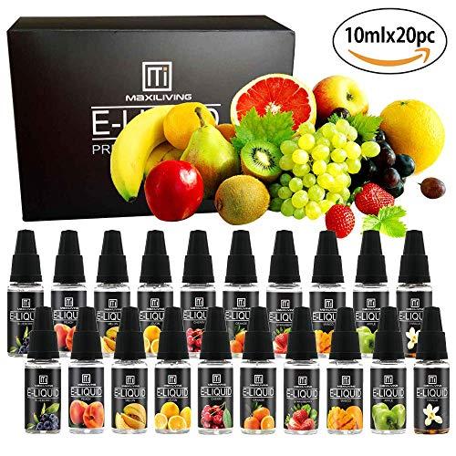 Maxiliving 20er x 10ml 10 Aromen ohne Nikotin eLIQUID für E-Zigarette Apfel,Vanille,Kirsche,Orange,Erdbeere,Melone,Blaubeere,Mango,Zitrone,Pfirsich